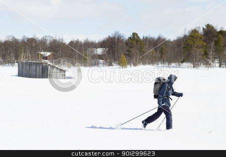 Cross Country Landscape stock photo, A skier with a large backpack on a wintery snow filled landscape. by Tyler Olson