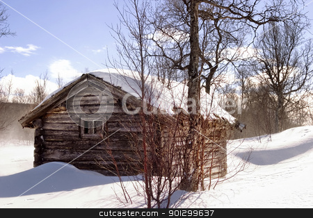 Winter Cabin stock photo, A winter cabin in winter scene by Tyler Olson
