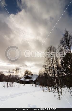 Cabin in Snow Wonderland stock photo, Cabin in a snowy Norwegian landscape. by Tyler Olson
