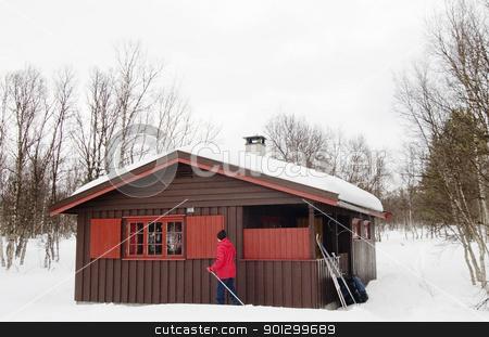 Winter Cabin stock photo, A winter cabin on a snowy landscape by Tyler Olson