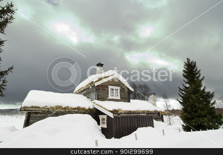Winter Cabin stock photo, A winter cabin on a snowy landscape by Tyler Olson