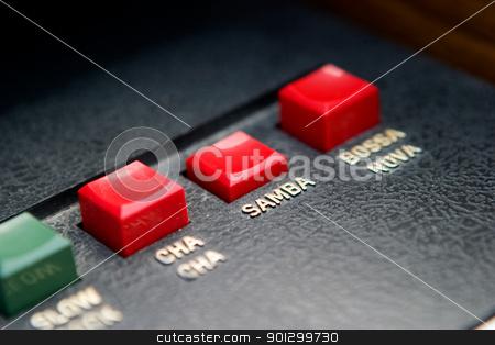 Retro Samba Organ Beat stock photo, Retro organ button - with focus on the samba button by Tyler Olson
