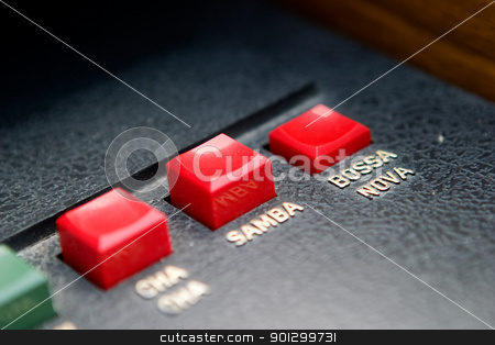 Bossa Nova Button stock photo, Retro organ button - with focus on the bossa nova button by Tyler Olson