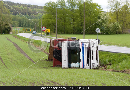 Truck Accident stock photo, A truck tipped over after an accident by Tyler Olson