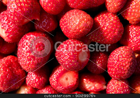 Strawberry Background stock photo, A background of fresh strawberries by Tyler Olson