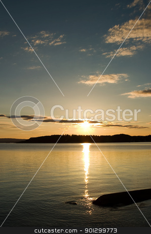 Sunset stock photo, A sunset on the oslo fjord, Norway by Tyler Olson