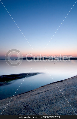 Sunset on Ocean stock photo, Sunset on the oslo fjord on a late summer evening. by Tyler Olson
