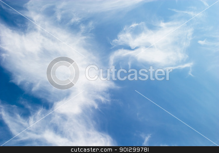Cloud Background stock photo, A cloud abstrct background image with whistful clouds and a deep blue sky by Tyler Olson