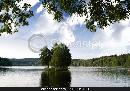 Small Lake and Island stock photo, A small island out on a little lake by Tyler Olson