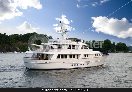Yacht at Seat stock photo, A large yacht in the ocean by Tyler Olson