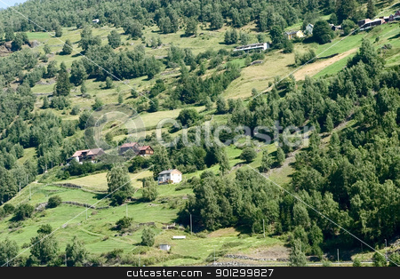 Mountain Farm stock photo, A mountain farm on the side of Aurlandsfjord, Sognefjord, in western Norway. by Tyler Olson