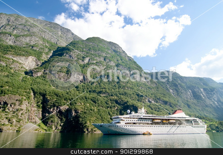 Sognefjord Norway Cruise stock photo, Cruise boat on the Sognefjord near Gudvangen in the western area of Norway. by Tyler Olson