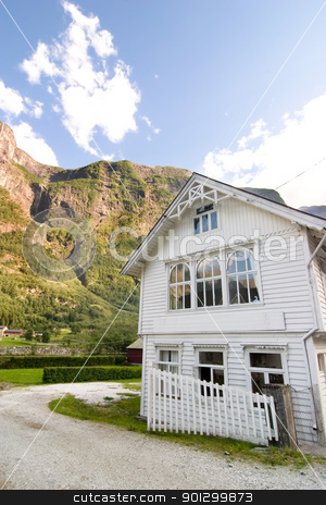 Mountain Farm - Norway stock photo, A mountain farm in Norway in sognefjord, Aurlandsfjord. by Tyler Olson