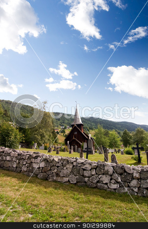 Hol Stave Church stock photo, A stavechurch - stavkirke - in Norway located at Hol built in the 13th century. by Tyler Olson