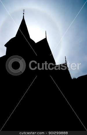 Church Steeple Silhuette stock photo, A silhouette of an old Norwegian Stave Church by Tyler Olson