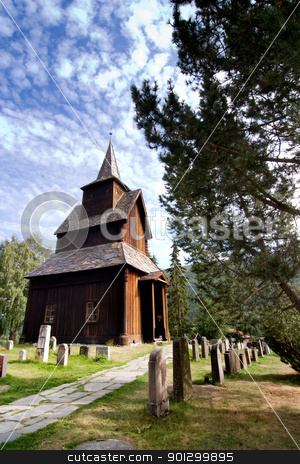 Torpo Stave Church stock photo, A stavechurch - stavkirke - in Norway located at Torpo built in the 13th century. by Tyler Olson