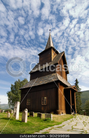 Stave Church stock photo, A stavechurch - stavkirke - in Norway located at Torpo built in the 13th century. by Tyler Olson