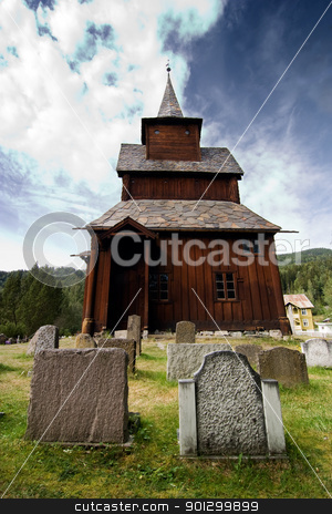 Old Stave Church stock photo, A stavechurch - stavkirke - in Norway located at Torpo built in the 13th century. by Tyler Olson