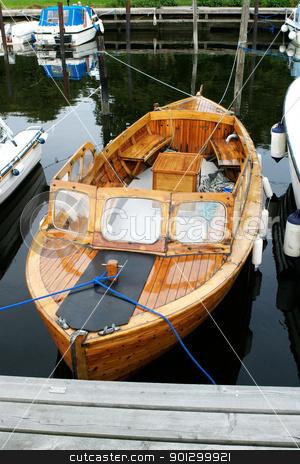 Norwegian Wooden Boat stock photo, A norwegian wooden boat 'snekke' at dock by Tyler Olson