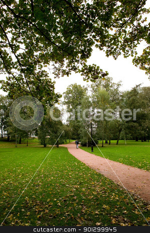 Green Park stock photo, A green lush park with a walking path by Tyler Olson