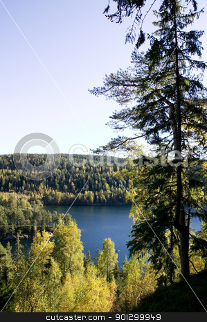 Forest Lake stock photo, A lake in the middle of a forest.  Near Oslo, in the eastern forest - stmark, Nklevann by Tyler Olson