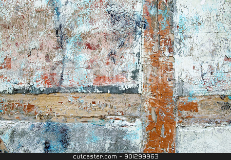 Old Paint Texture stock photo, Thick paint and paster slowly peeling off and cracking on an antique wood, brick and plaster building. by Tyler Olson