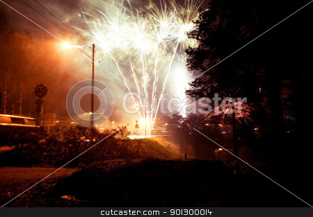 Rural Fireworks stock photo, Fire works going off in a dangerious location (under power lines) by Tyler Olson