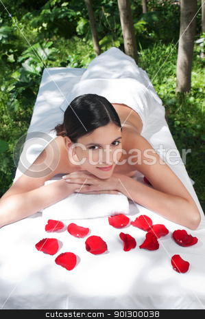 Beautiful young woman at a spa stock photo, High angle view of beautiful young woman at a spa by Tyler Olson