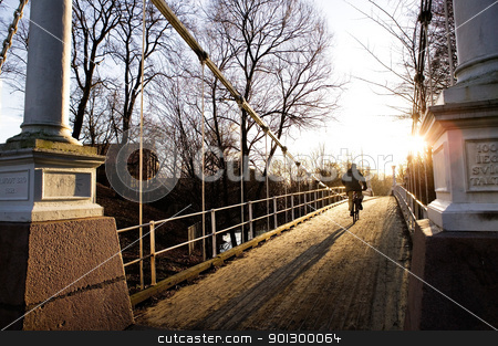 Suspension Bridge on Sunny Day stock photo, A beautiful day with the sun shinning into the camera over a suspension bridge. by Tyler Olson