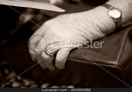 Old Hand stock photo, A detail of an old womans hand on her purse using shallow depth of field. The image is given a slight sepia toning by Tyler Olson