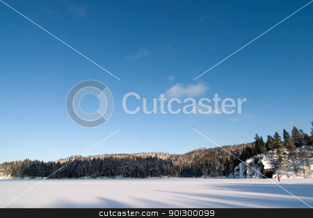 Frozen Lake Landscape stock photo, A frozen lake in the middle of winter on a beautfil blue sky day with a few people barely viewalbe skiing in the background. by Tyler Olson