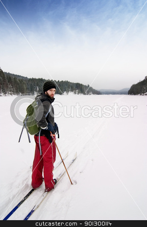 Cross Country Skiing stock photo, A cross country skier out on a refreshing trip over a frozen lake. by Tyler Olson
