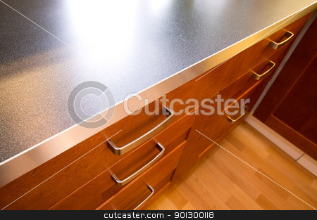 Kitchen Counter and Drawer stock photo, A detail close up image of a stylish kitchen counter and drawer. by Tyler Olson