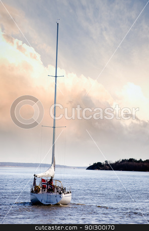 Small Sail Boat stock photo, A small sail boat near Fredrikstad, Norway by Tyler Olson