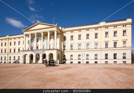 Oslo Palace stock photo, The Oslo Palace on a bright blue day waiting the arrival of a V.I.P. by Tyler Olson