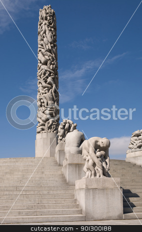 Vigeland Monolith stock photo, The monolith sculpture at the Vigeland museum, Oslo Norway by Tyler Olson