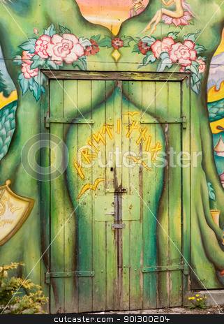 Christiania Detail stock photo, A detail of a door in Christiania - an occupied area of Copenhagen, Denmark by Tyler Olson