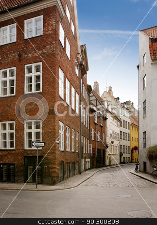 Quaint Copenhagen Street stock photo, A street in the old town area of copenhagen by Tyler Olson