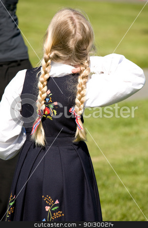 Norwegian girl stock photo, A young norwegian girl in a traditional costume by Tyler Olson
