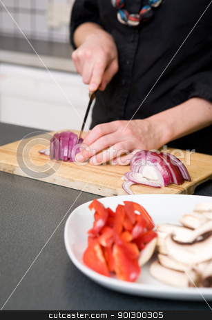 Woman Slicing a Red Onion stock photo, A woman cutting vegetables at home on the counter.  A shallow depth of field is used to bring the hands and red onion in to attention. by Tyler Olson