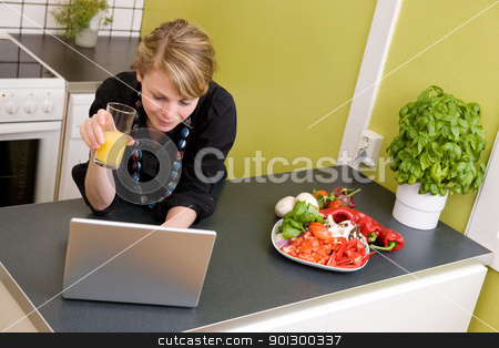 Online Lunch stock photo, A young female surfs the internet while enjoying a light healthy snack of vegetables and juice. by Tyler Olson