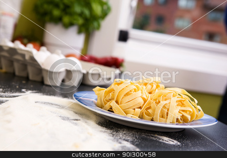 Fresh Fettuccine stock photo, A detail of homemade fettuccine on a plate ready to be boiled by Tyler Olson