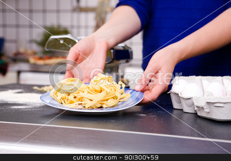 Plate of Fresh Pasta stock photo, A fresh plate of pasta by Tyler Olson
