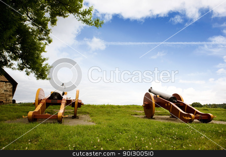 Old Canon Defence stock photo, Two old canons on a old fortress wall by Tyler Olson