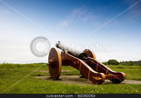 Old Canon stock photo, An old canon on a grass filled hill by Tyler Olson