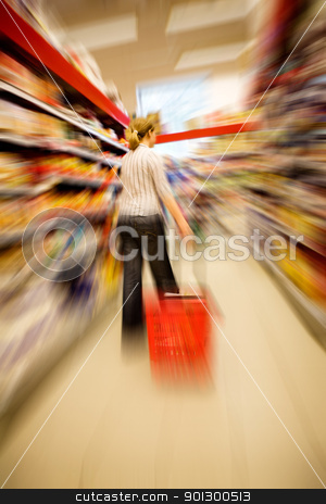 Shopping Craze stock photo, A woman shopping with zooming blur by Tyler Olson