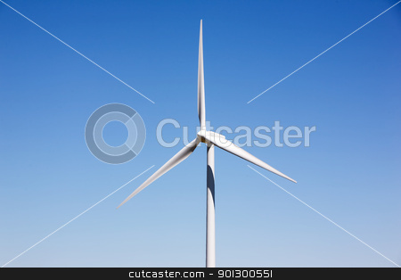 Wind Turbine Detail stock photo, A detail of a wind turbine against a deep blue sky by Tyler Olson