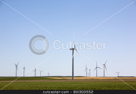 Wind Turbine Farm stock photo, A wind turbine farm on the beautiful prairies by Tyler Olson