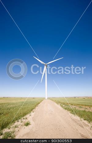 Wind Turbine on the Prairie stock photo, A wind turbine on the flat prairie by Tyler Olson