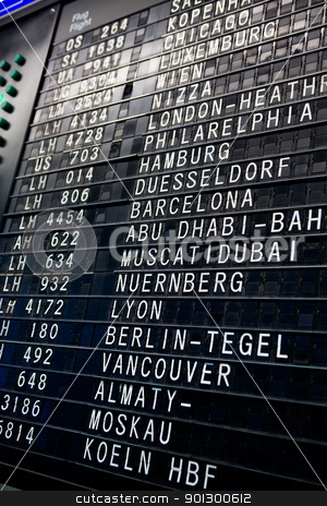 Departures stock photo, The display board in an airport with depatrue and arrival times. by Tyler Olson